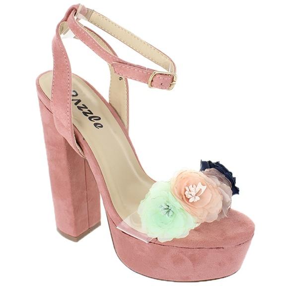 d5be6a10485 Pink Flower Clear Strap Ankle Strap Platform Heel